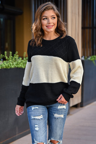 CBRAND Smitten For You Sweater - Black, Ivory womens cozy color block knit sweater closet candy front2; Model: Hannah Sluss