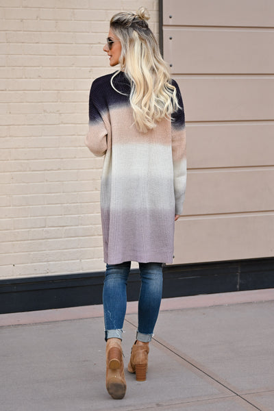 CBRAND Never Fade Away Ombre Cardigan - Navy, soft coral, blush, ivory, grey color block cardigan, closet candy boutique back
