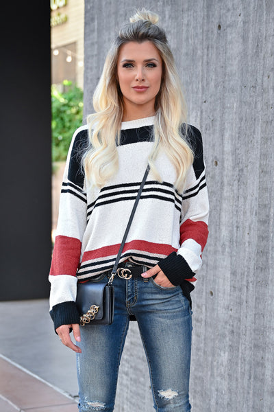 CBRAND Do It For You Sweater - Multi womens trendy striped lightweight sweater front
