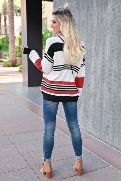 CBRAND Do It For You Sweater - Multi womens trendy striped lightweight sweater back