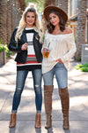 CBRAND Find Your Way Sweater - Cream womens trendy off-the-shoulder sweater closet candy front3; Model: Hannah Sluss, Julianna B.