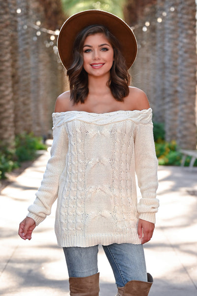 CBRAND Find Your Way Sweater - Cream womens trendy off-the-shoulder sweater closet candy front2; Model: Hannah Sluss