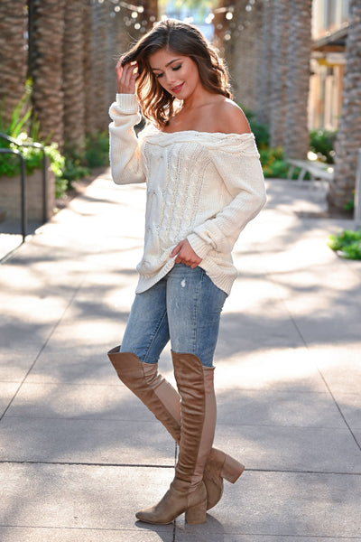 CBRAND Find Your Way Sweater - Cream womens trendy off-the-shoulder sweater closet candy side; Model: Hannah Sluss