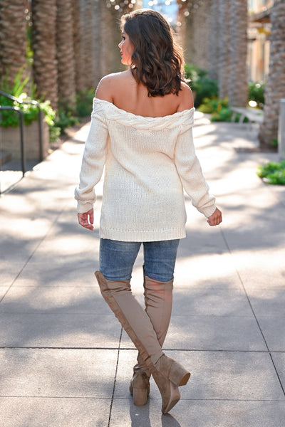 CBRAND Find Your Way Sweater - Cream womens trendy off-the-shoulder sweater closet candy back; Model: Hannah Sluss
