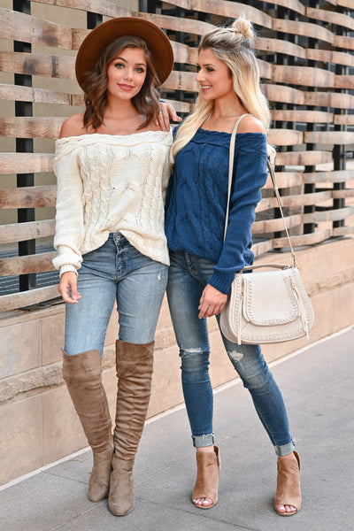CBRAND Find Your Way Sweater - Cream womens trendy off-the-shoulder sweater closet candy front4; Model: Hannah Sluss, Julianna B.