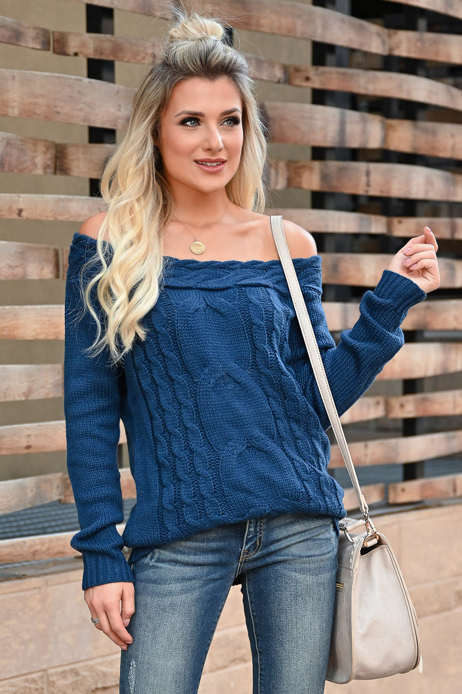 CBRAND Find Your Way Sweater - Navy womens trendy off-the-shoulder sweater closet candy front