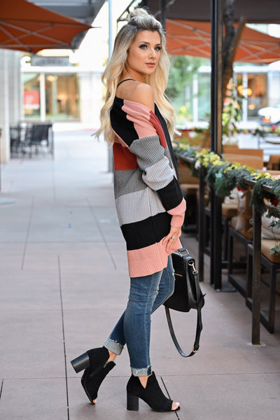 CBRAND Power Play Color Block Cardigan - Multi womens trendy color block cardigan open front closet candy side2