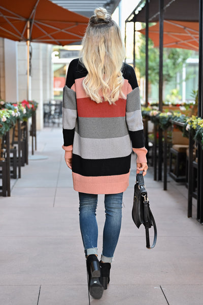 CBRAND Power Play Color Block Cardigan - Multi womens trendy color block cardigan open front closet candy back