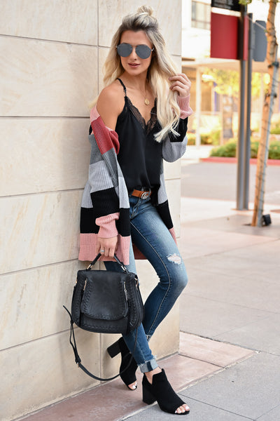 CBRAND Power Play Color Block Cardigan - Multi womens trendy color block cardigan open front closet candy front3