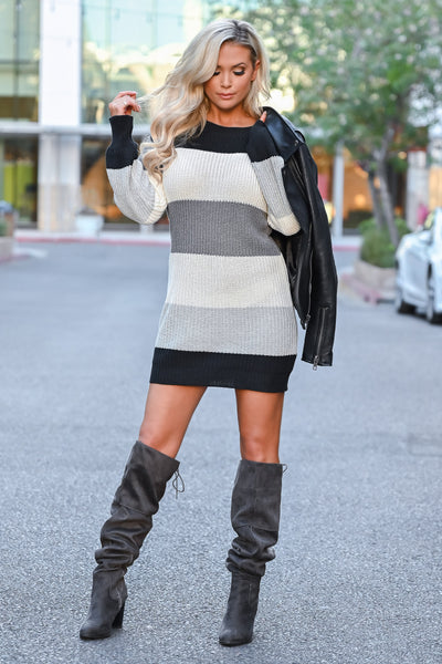 CBRAND Self Made Sweater Dress - Multi women trendy fall sweater dress closet candy front