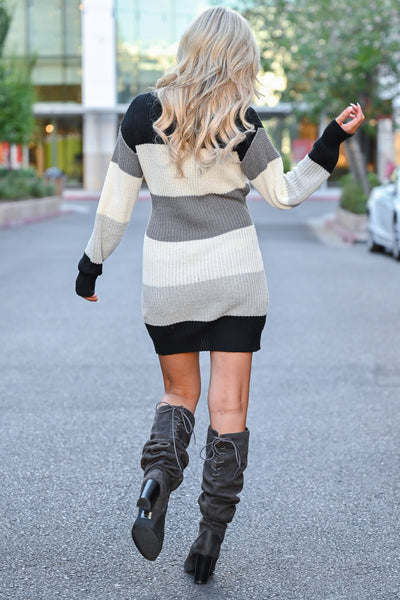 CBRAND Self Made Sweater Dress - Multi women trendy fall sweater dress closet candy back