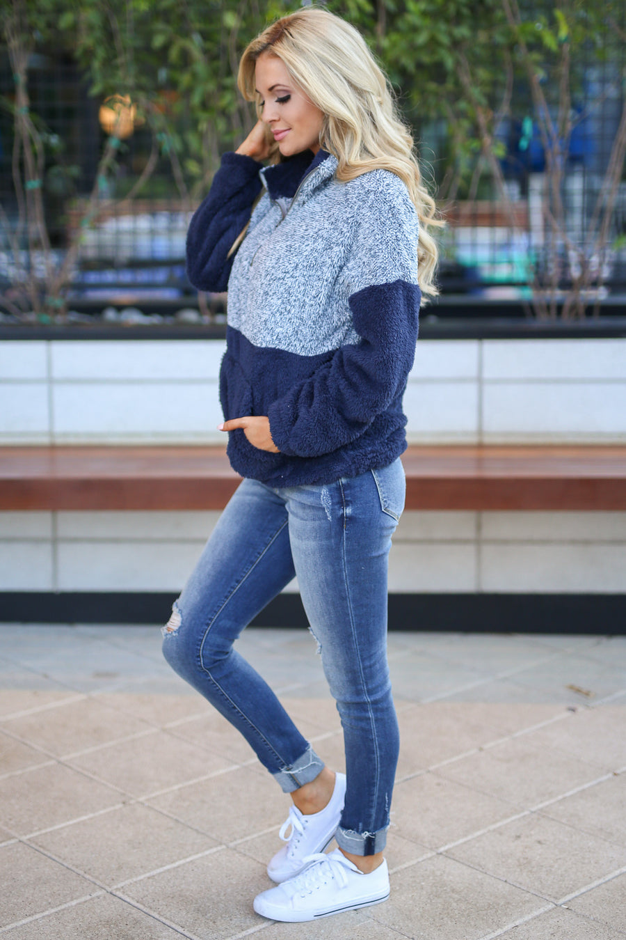 Meet Your Match Sweatshirt - Navy color block soft sweatshirt, zip collar, Closet Candy Boutique 1