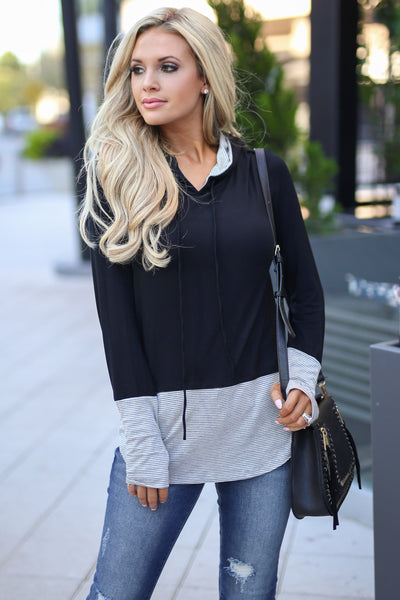 Girl Talk Hooded Top - Black and grey hoodie, drawstrings, thumb holes at sleeves, closet candy boutique 2