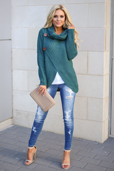 Wrap Me Up Sweater - Teal women's cowl neck knit wrap sweater, cute street style, front, Closet Candy Boutique 1