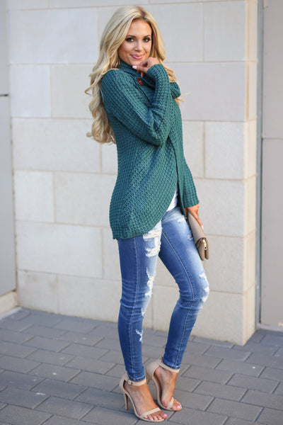 Wrap Me Up Sweater - Teal women's cowl neck knit wrap sweater, cute street style, front, Closet Candy Boutique 3