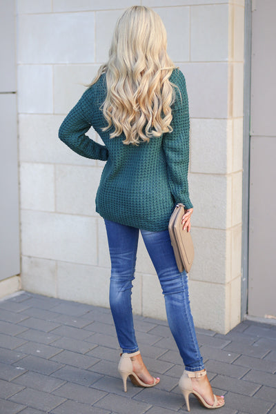 Wrap Me Up Sweater - Teal women's cowl neck knit wrap sweater, cute street style, front, Closet Candy Boutique 4