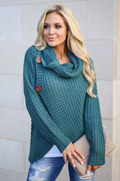 Wrap Me Up Sweater - Teal women's cowl neck knit wrap sweater, cute street style, front, Closet Candy Boutique 5
