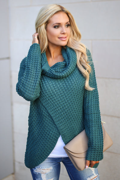 Wrap Me Up Sweater - Teal women's cowl neck knit wrap sweater, cute street style, front, Closet Candy Boutique 2