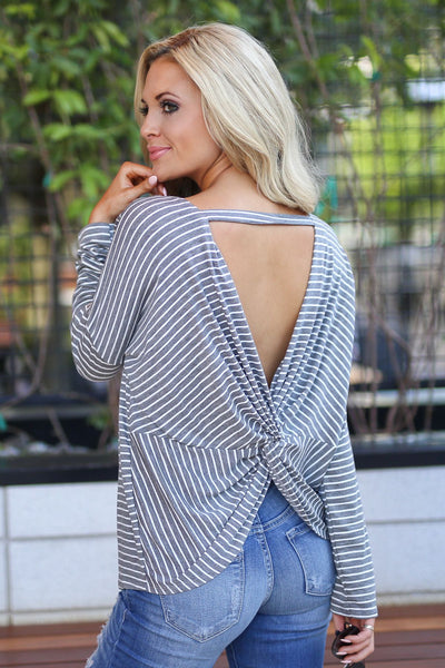 Ready Or Knot Top - Charcoal trendy striped long sleeve, twisted back, perfect for fall top, closet candy boutique 1