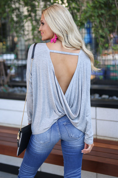 Happiest Hour Twist Back Top - Heather Grey women's must-have drape back long sleeve top, simple front, stylish back detail, closet candy boutique 1