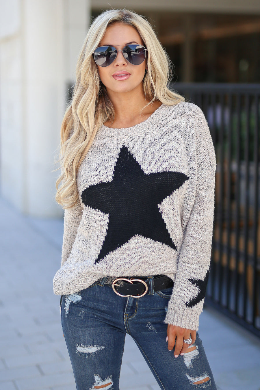 Beneath The Stars Sweater - Oatmeal taupe, black star, long sleeve top, trendy, cute, closet candy boutique 1