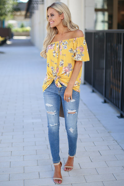Add Sun Top - Goldie marigold color women's cute off the shoulder top, trendy tie front closet candy boutique 3