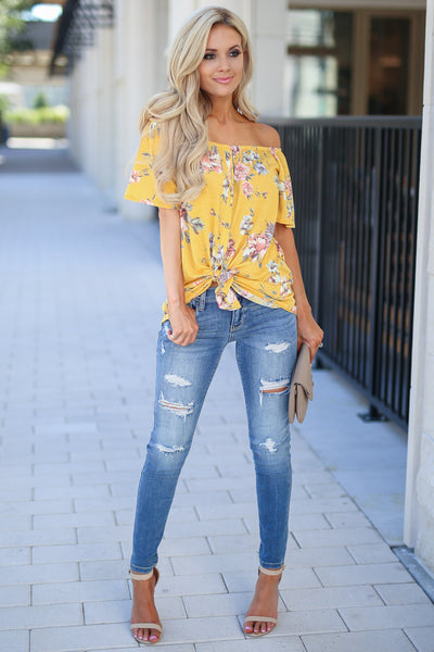 Add Sun Top - Goldie marigold color women's cute off the shoulder top, trendy tie front closet candy boutique 6