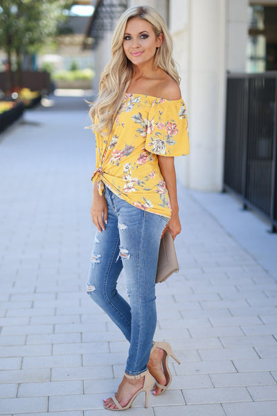 Add Sun Top - Goldie marigold color women's cute off the shoulder top, trendy tie front closet candy boutique 4