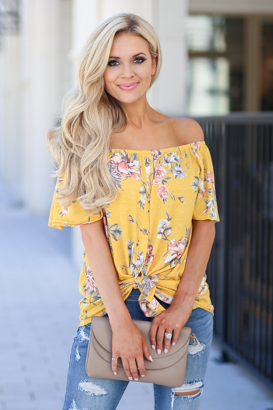 Add Sun Top - Goldie marigold color women's cute off the shoulder top, trendy tie front closet candy boutique 1