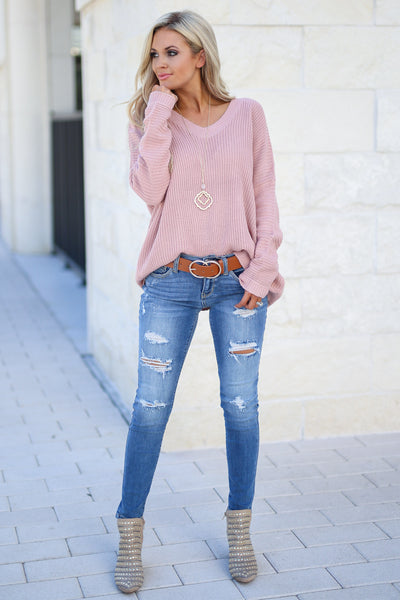 Cozy On Up Sweater - Dusty Rose women's trendy knit top, cute back detail, perfect for fall, closet candy boutique 4