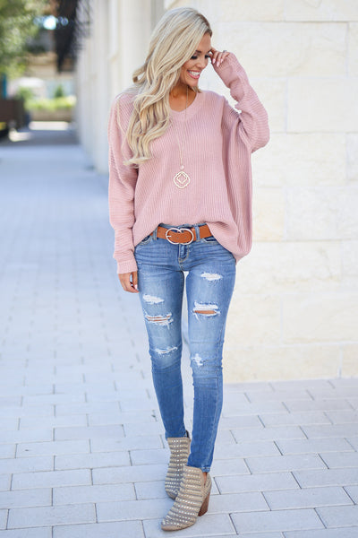 Cozy On Up Sweater - Dusty Rose women's trendy knit top, cute back detail, perfect for fall, closet candy boutique 5