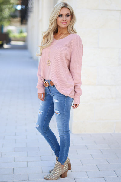 Cozy On Up Sweater - Dusty Rose women's trendy knit top, cute back detail, perfect for fall, closet candy boutique 3