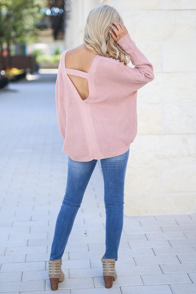 Cozy On Up Sweater - Dusty Rose women's trendy knit top, cute back detail, perfect for fall, closet candy boutique 2