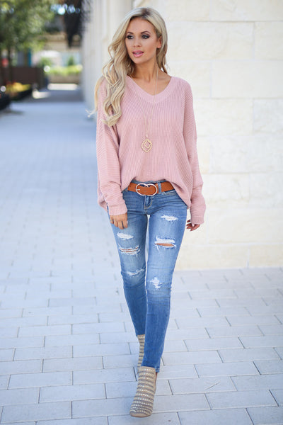 Cozy On Up Sweater - Dusty Rose women's trendy knit top, cute back detail, perfect for fall, closet candy boutique 1