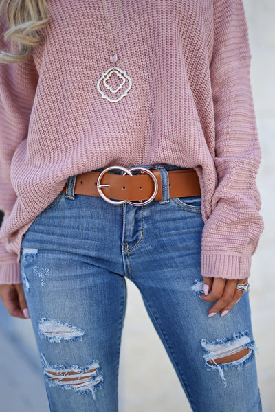 Double Trouble Belt - Tan women's trendy two ring buckle closet candy boutique 1
