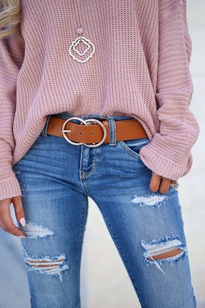 Double Trouble Belt - Tan women's trendy two ring buckle closet candy boutique 4