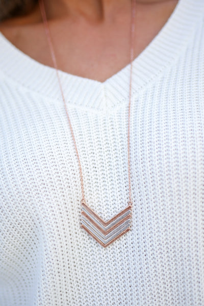 Chevron Necklace - Rose Gold & Silver trendy two tone long chain necklace closet candy boutique 3
