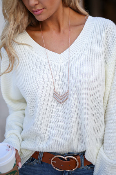 Chevron Necklace - Rose Gold & Silver trendy two tone long chain necklace closet candy boutique 1