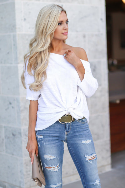 Brunchin' Beauty Knit Top - White women's knit top, knot hem detail, trendy off the shoulder, closet candy boutique 2