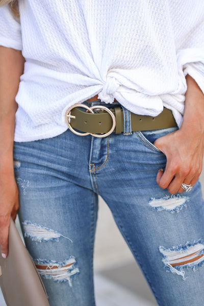 Double Trouble Belt - Olive women's trendy two ring buckle closet candy boutique 1