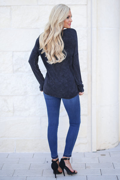 Easy Days Ahead Top - Black stone wash trendy long sleeve with v-neck and strap detail, closet candy boutique 5