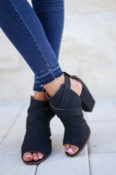Ashlynn Peep Toe Booties - Black trendy women's ankle booties, cute chunky heel, sassy strappy details, closet candy boutique 2