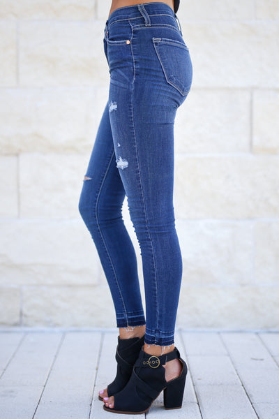 KAN CAN PREMIER Distressed Skinny Jeans - Sophia Wash, detailed hem, trendy distressed pants closet candy boutique 2