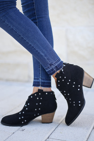 Nailed It Studded Booties - Black women's vegan suede boots closet candy boutique 1