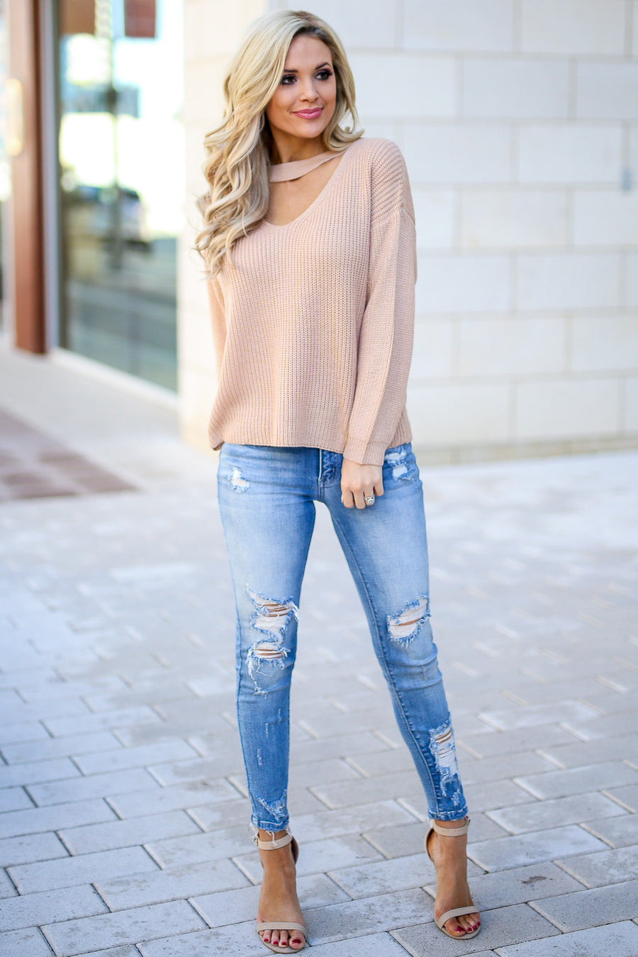 Calls For Cocktails Knit Top - Beige women's long sleeve top with choker neckline, Closet Candy Boutique 1