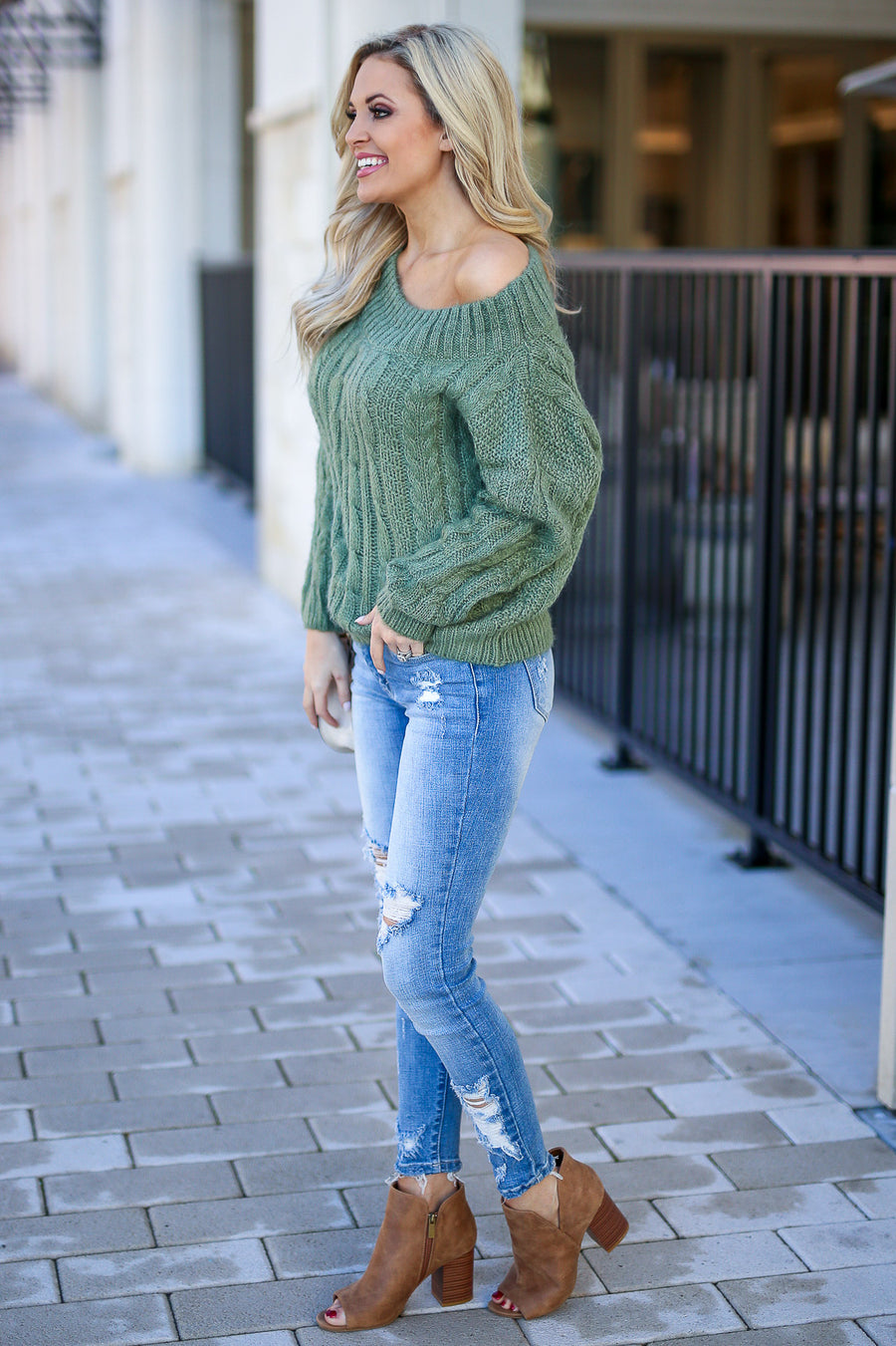 Down To Chill Sweater - Sage women's off the shoulder cable knit sweater top, Closet Candy Boutique 1