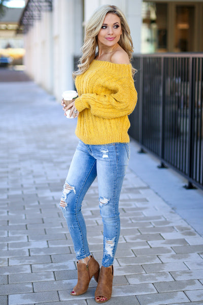 Down To Chill Sweater - Mustard women's off the shoulder cable knit sweater top, Closet Candy Boutique 2