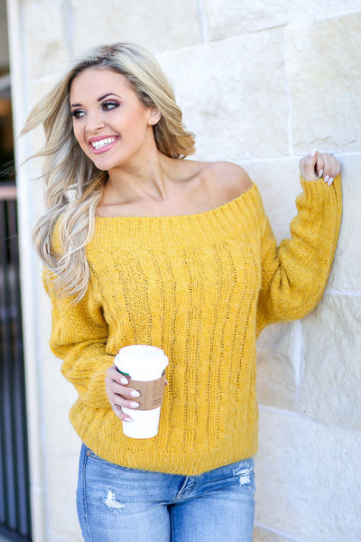 Down To Chill Sweater - Mustard women's off the shoulder cable knit sweater top, Closet Candy Boutique 3