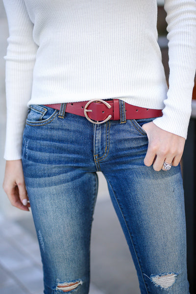 It's The Simple Things Belt - Wine women's C buckle belt, Closet Candy Boutique 1