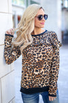 Name Dropper Ruffle Top - Leopard women's long sleeve animal print top with ruffle on chest, Closet Candy Boutique 1